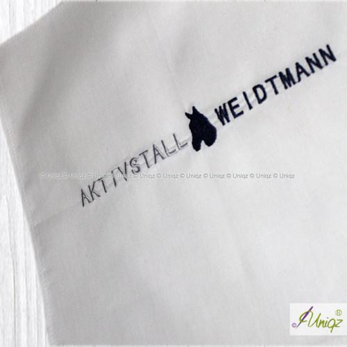 Taschentuch mit Logostickerei, Reitstall