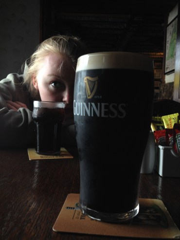 Tamsyn eyeing up my Guinness...