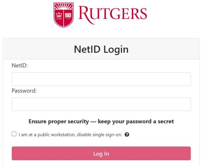 Rutgers Canvas NetID Login page
