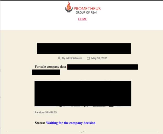 The Prometheus leak site advertises company data for sale.