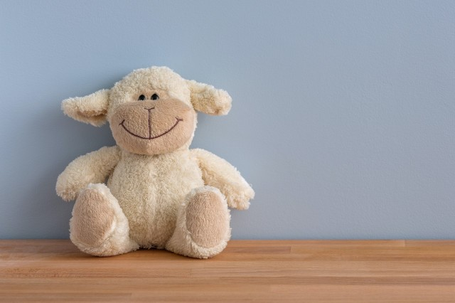 Picture of a stuffed lamb toy against a blue wall
