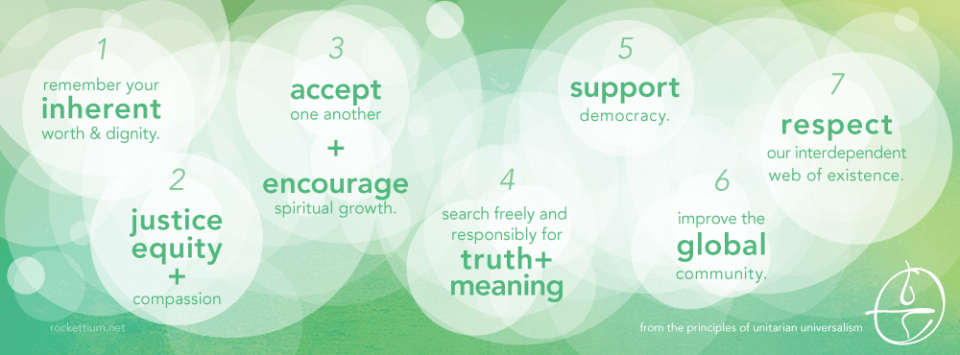 Graphic of the seven UU principles