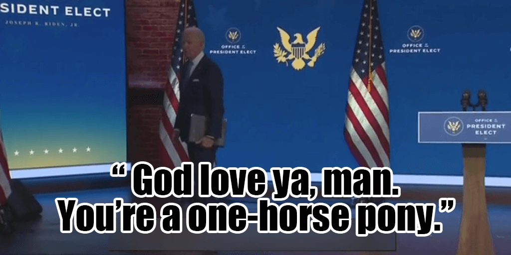 """Joe Biden Mocks Reporter for Asking About Hunter Scandal, Saying """"You are a one Horse Pony"""""""