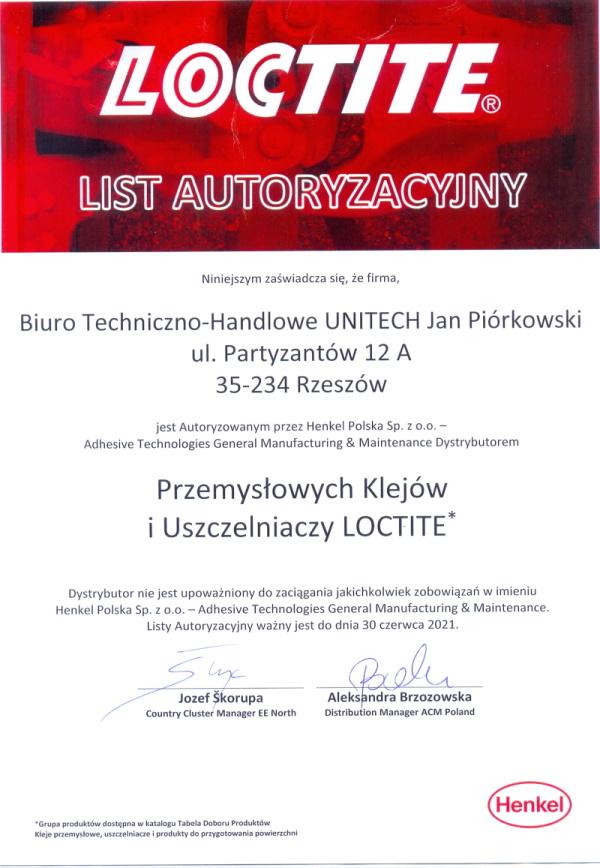 certyfikat LOCTITE