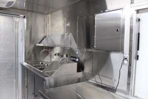 Food truck kitchen inside stainless steel