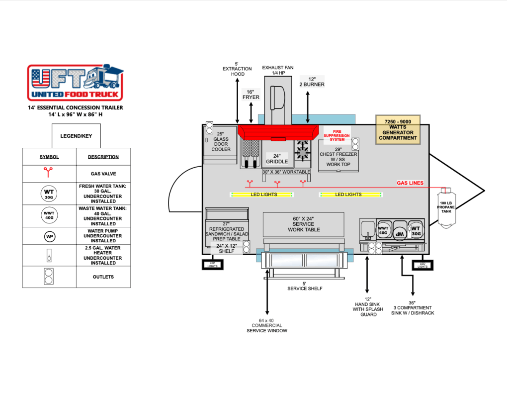 concession trailer floor plan essential package