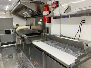 Lobstar Food Truck Kitchen prep table inside