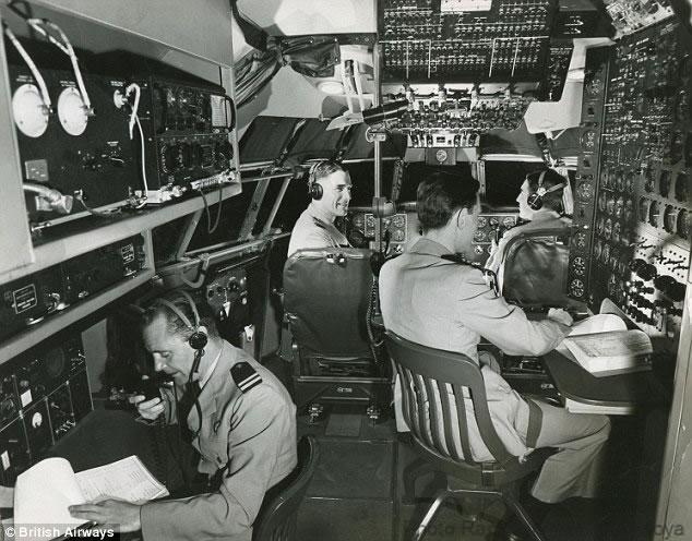 Plenty of room in the cockpit for a pilot,co-pilot, flight engineer,navigator, radio operator. Image source BOAC