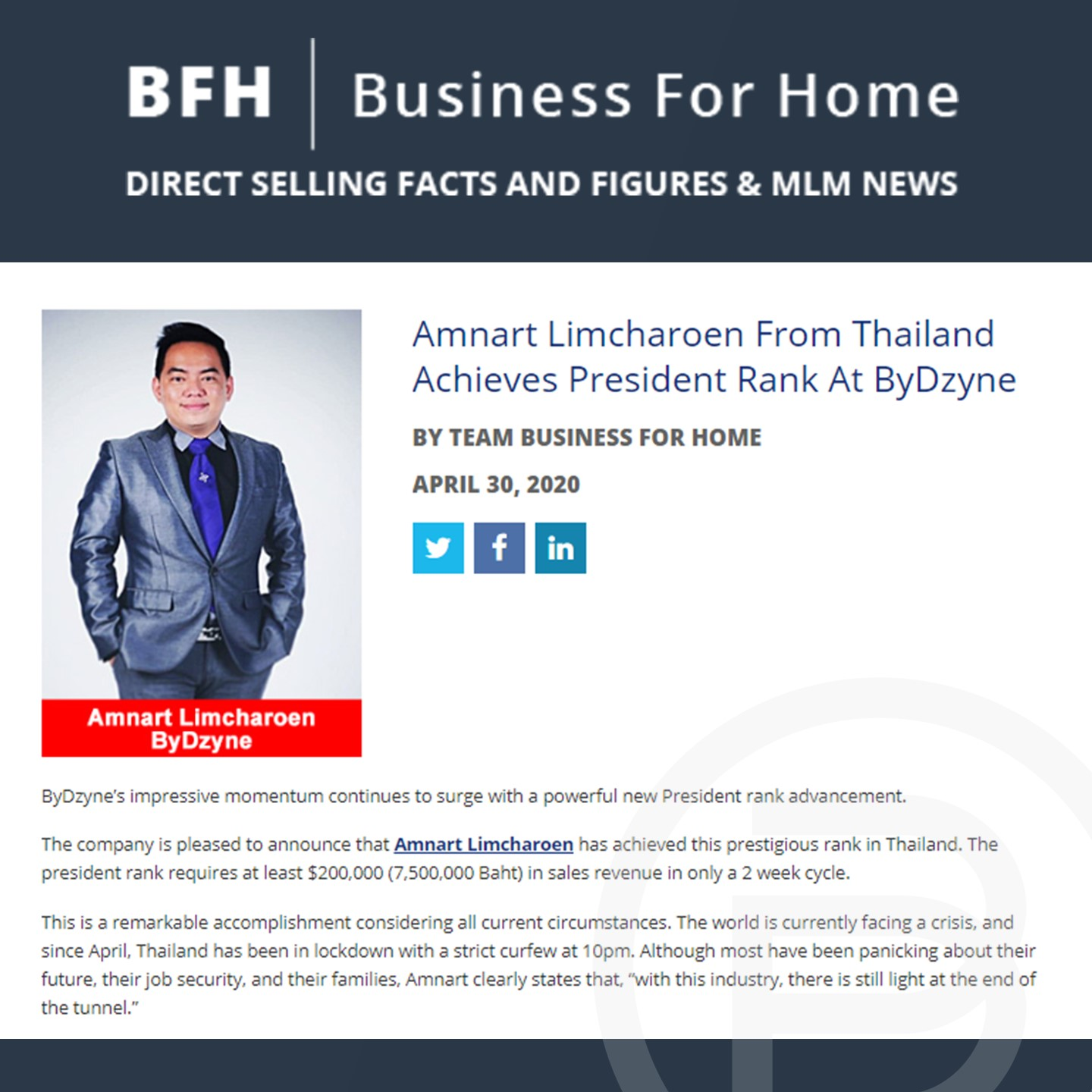 Bfh Amnart Limcharoen From Thailand Achieves President Rank At Bydzyne United Bydzyne