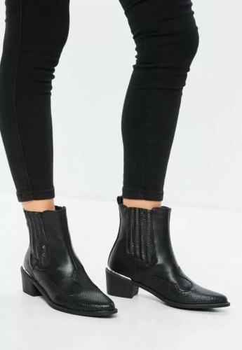taylor swift reputation tour outfit ideas black snake pattern cowboy chelsea boots missguided