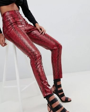 taylor swift reputation tour outfit ideas Lasula high waist PANTS in red snake print asos