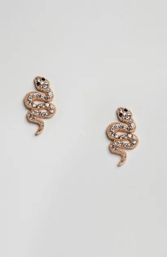 taylor swift reputation tour outfit ideas asos DesignB gold plated snake earrings