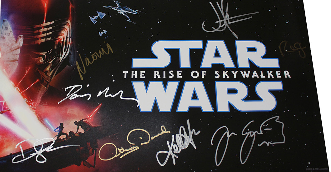star wars movie poster signed by the cast