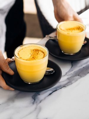 Two coffees ready for being served