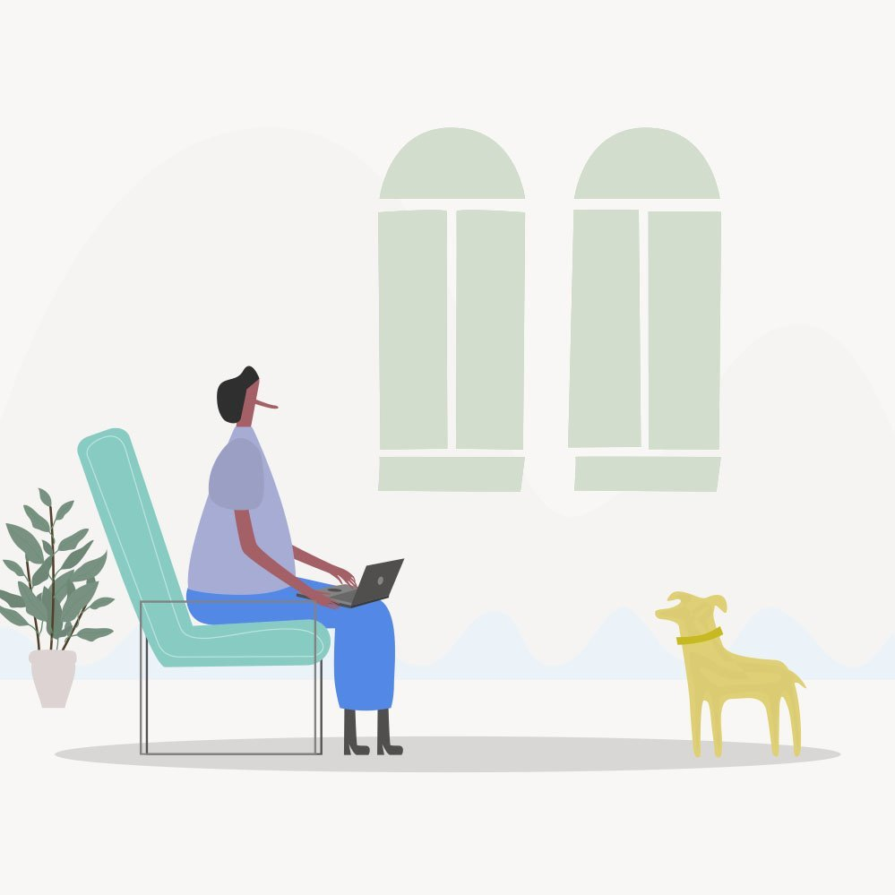 a cartoon woman with assistant dog