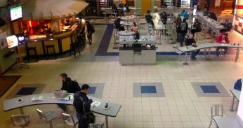 Ariel shot of the Student Cafe Center.