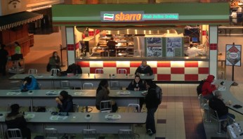 An ariel shot of Sbarro. (Taken from the second floor of the student center)