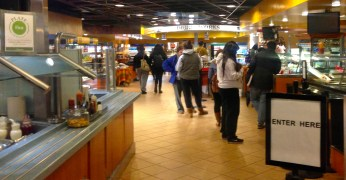 Inside shot of the student cafe. Usually more busy than other food places on campus.