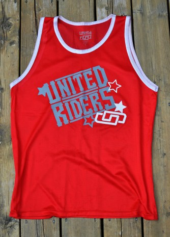 Riders Tank : Western logo , 100 % polyester : Red/Wh , Royal/Wh , Bl/Gold