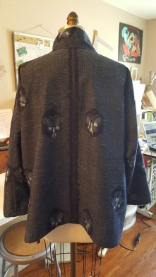 Custom jacket for Megan, a private client. Japanese hand dyed cotton ikat with hidden button placket. Back
