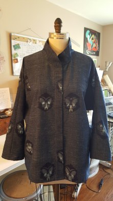 Custom jacket for Megan, a private client. Japanese hand dyed cotton ikat with hidden button placket. Front