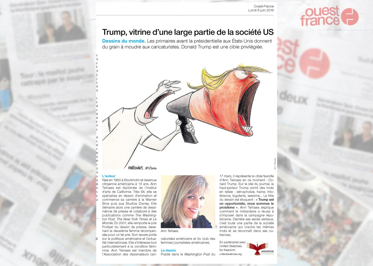 Ann Telnaes in French Biggest Newspaper, Ouest-France