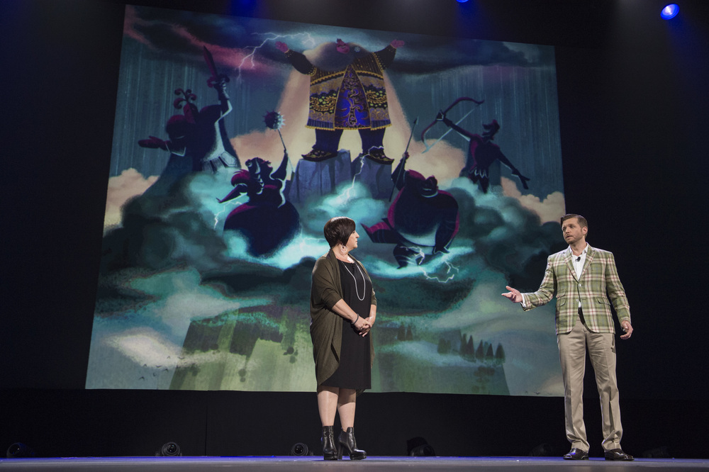Dorothy McKim and Nathan Greno show off the Storm Giants in Gigantic at 2015's D23 Expo.