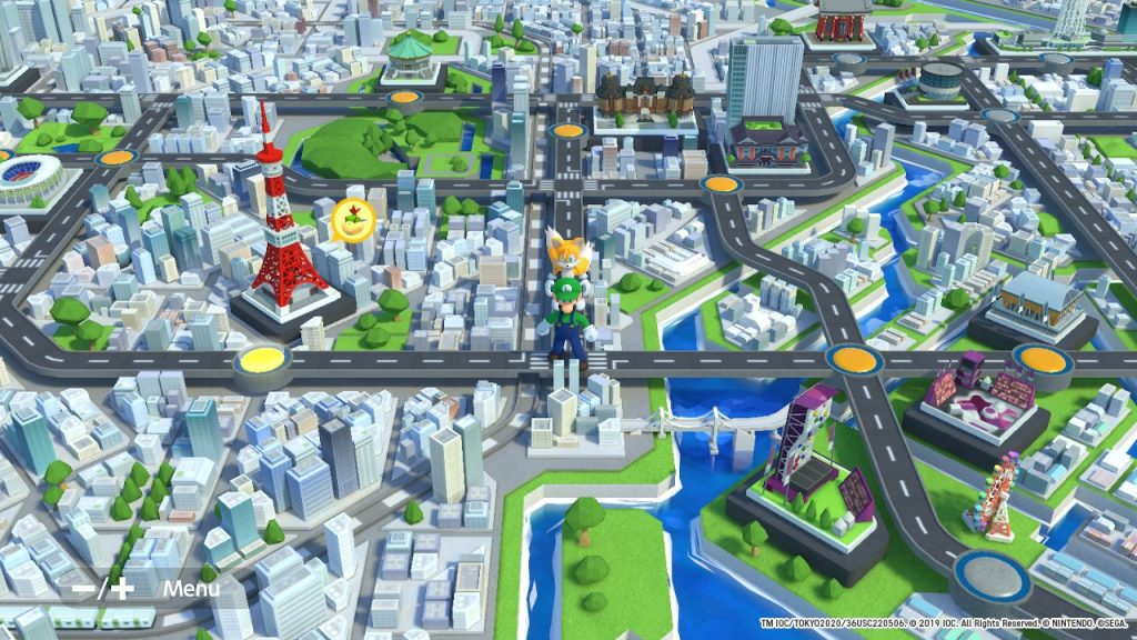 The 3D map of Tokyo in Mario & Sonic at the Olympic Games 2020.