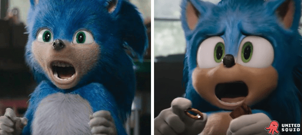 Before And After Sonic The Hedgehog S Movie Design United Squid