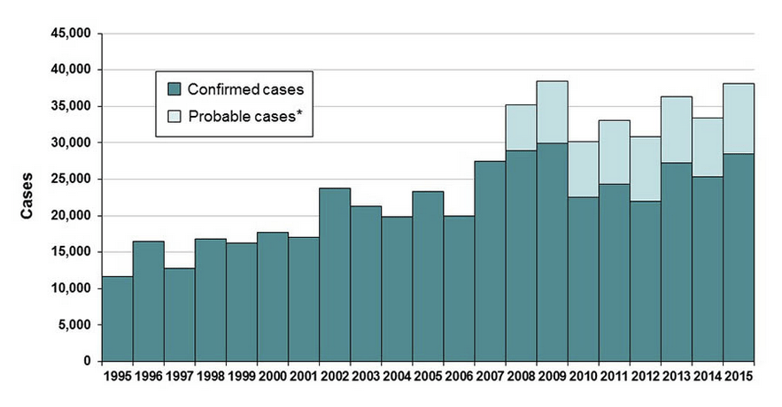 'Reported Cases of Lyme Disease by Year, United States, 1995-2015' (Center for Disease Control)