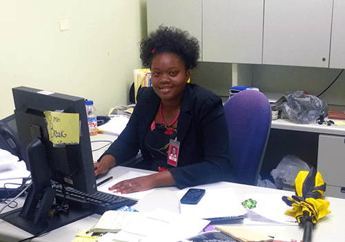 Traneise Wilson, a Youth Employment Program intern, at her workspace at CSX.