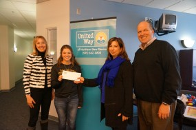 Emily Hopkins of UW Youth Team Presents Check for Mental Health First Aid to JJAB