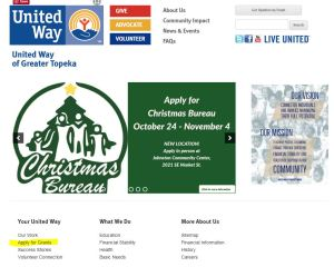 Image of United Way of Greater Topeka home page. Click to go to the grant application page.