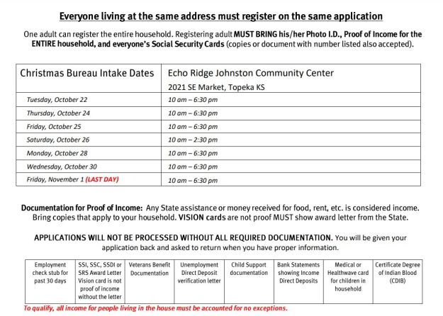 2019 Christmas Bureau application dates
