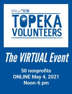 Slider card for 2021 Topeka Volunteers Virtual Event on May 4