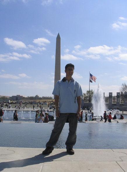 dinesh wagle with washington monument on background