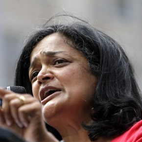 Progressive leader Rep. Jayapal joins 'caravan' for border crossing