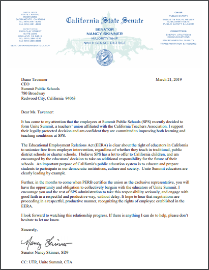 Sen Skinner letter
