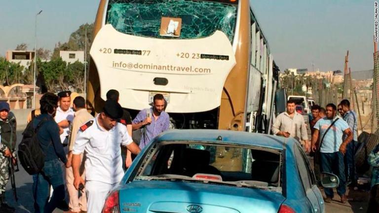 Breaking News: Egypt, an explosion rocked a tourist bus near Giza Pyramids