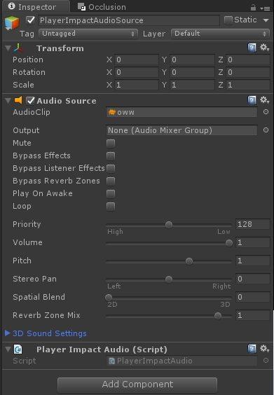 Events - Custom Events - PlayerImpactAudio Inspector