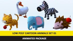 CartoonCuteAnimals Low Poly Pack – 01 AR VR Games Movies VR / AR / low-poly 3d model