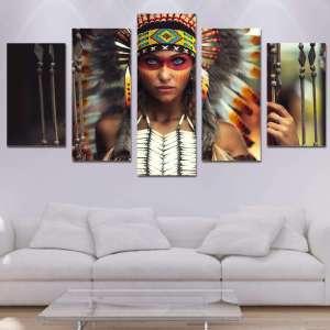 Décoration Murale en 5 pièces Amérindienne HD - L'univers-karma