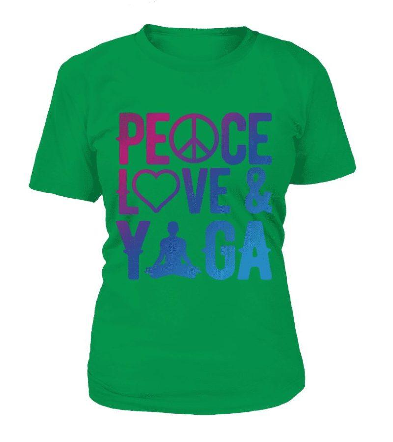 """T Shirt """"Peace, Love & Yoga"""" Pour femme - L'univers-karma"""