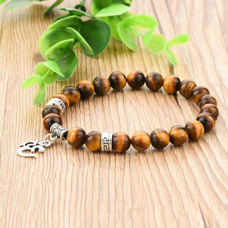 """Bracelet de Protection """"Ohm"""" en Œil de tigre - L'univers-karma"""