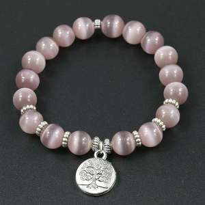 Bracelet Arbre de vie en Opale Rose - L'univers-karma