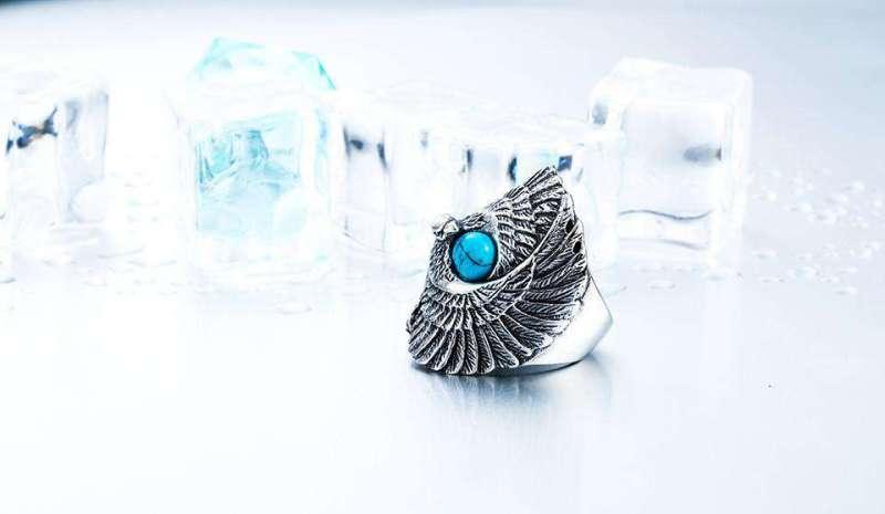 Bague de Protection d'aigle Avec Perle de Turquoise - L'univers-karma