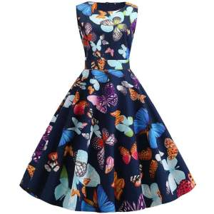 Robe Pin Up Papillon Bleu