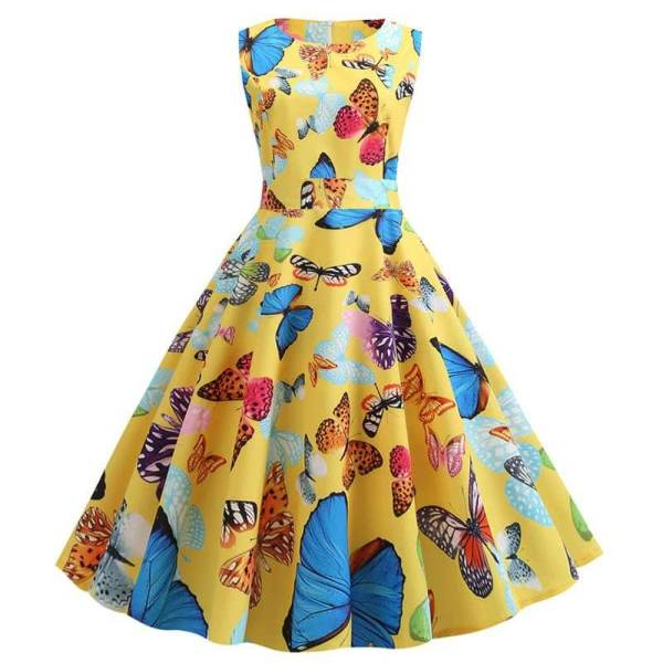 Robe Pin Up Papillon Jaune