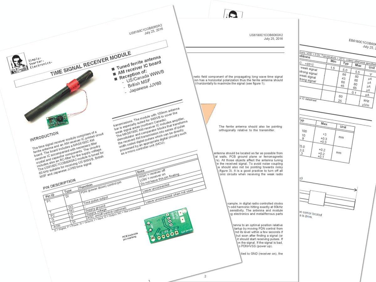 WWVB 60kHz atomic clock receiver module loop stick ferrite antenna - smarter electronics by universal solder