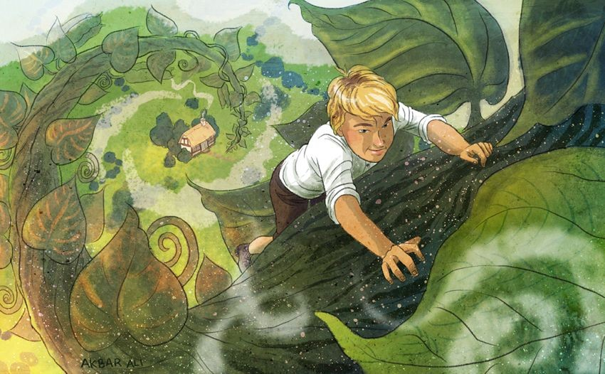 Jack and the Beanstalk-Jack climbs the beanstalk to the Giant's house.